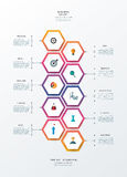 Vector infographics design template with 3D paper label. Vector infographics timeline design template with 3D paper lable, integrated hexagon for 10 steps and Royalty Free Stock Image
