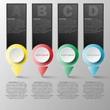 Vector infographics design template with four 3D colorful circle paper bullet point for content business infographic concept. Graphic design idea 1 Royalty Free Stock Photo
