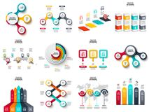 Vector infographics, diagram, chart, graph and presentation. Arrows, circles, target, columns, map and timeline. Vector infographics, diagram, chart, graph and royalty free illustration