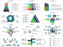 Vector infographics, diagram chart and graph. Vector infographics , diagram chart, graph presentation. Business report with 3, 4, 5, 6 and 7 options, parts Stock Images