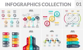 Vector infographics elements collection. Abstract diagrams, arrows, circles, timeline and infinity sign with 3, 4, 5, 6. 7 and 10 steps options or parts stock illustration