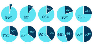 Vector Infographics. 5 10 15 20 25 30 35 40 45 50 55 60 65 70 75 80 85 90 95 percent blue pie charts Royalty Free Stock Photography