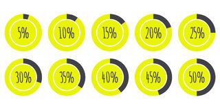 Vector Infographics 5% 10% 15% 20% 25% 30% 35% 40% 45% 50% Pie Charts isolated on white. Vector Infographics 5% 10% 15% 20% 25% 30% 35% 40% 45% 50% yellow and Vector Illustration