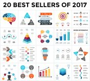 Vector infographics set. 20 best sellers of 2018. Business diagrams, arrows graphs, startup presentations and idea. Circle arrows diagram for graph infographic Stock Image