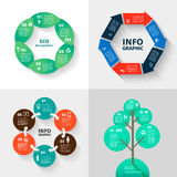 Vector infographics set - eco and business. Collection of templates for cycle diagram, graph, presentation  round chart. Stock Image