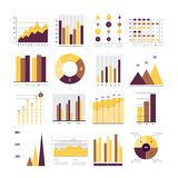 Vector infographics. Set of financial and marketing charts. Round and with percentages diagrams showing progress and regression. Color business graph report Royalty Free Stock Images