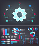 Vector infographics set. Flower template for diagram, graph, presentation and chart. Royalty Free Stock Photos