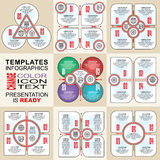 Vector infographics set. Outline. Collection of templates for cycle diagram, graph, presentation and round chart Royalty Free Stock Image