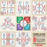 Vector infographics set. Outline. Collection of templates for cycle diagram, graph, presentation and round chart Stock Image
