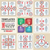 Vector infographics set. Outline. Collection of templates for cycle diagram, graph, presentation and round chart Royalty Free Stock Images