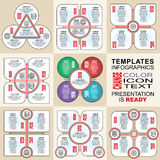 Vector infographics set. Outline. Collection of templates for cycle diagram, graph, presentation and round chart Royalty Free Stock Photography
