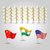 Vector set of three flags of states with biggest production of cotton and several plants - countries united states Royalty Free Stock Photos