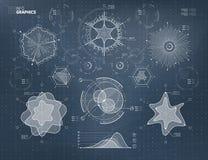 Vector futuristic HUD infographics elements set royalty free illustration