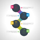 Vector infographics template with four options in material design style. It can be used as a chart, numbered banner Royalty Free Stock Images