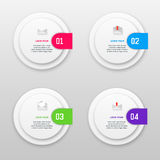 Vector infographics template with four options in material design style. It can be used as a chart, numbered banner Royalty Free Stock Photography