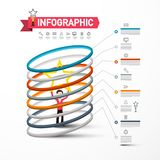 Vector Infographics Template with Man Holding Star Inside Circles. Rating Infographic Design with Icons and Sample Text. Company Data Flow Layout royalty free illustration