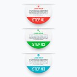 Vector infographics template with three options in material design style. It can be used as a chart, numbered banner Stock Photos