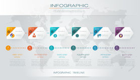Vector infographics timeline design. Template with 3D paper label and graph 6 steps options. For workflow layout diagram, infograph business, infographic Stock Photography