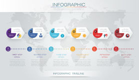 Vector infographics timeline design template. With 3D paper label and graph 6 steps options. For workflow layout diagram, infograph business, infographic Royalty Free Stock Photo