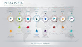 Vector infographics timeline design template. With 3D paper label and graph 8 steps options. For workflow layout diagram, infograph business, infographic Stock Photos