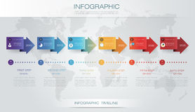 Vector infographics timeline design. Template with 3D paper label and graph 6 steps options. For workflow layout diagram, infograph business, infographic Royalty Free Stock Photo