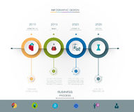Vector infographics timeline design template. With 3D paper label and graph 4 steps options. For workflow layout diagram, infograph business, infographic Royalty Free Stock Photo