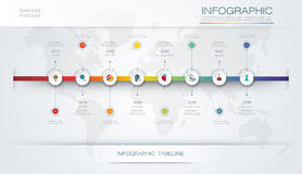 Vector infographics timeline design template. With 3D paper label and graph 8 steps options. For workflow layout diagram, infograph business, infographic Royalty Free Stock Image
