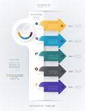 Vector infographics timeline design. Template with 3D paper label and graph 5 steps options. For workflow layout diagram, infograph business, infographic Stock Photo