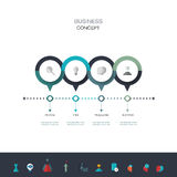Vector infographics timeline design template. With 3D paper label, integrated circles background. Blank space for content, business, infographic, diagram Stock Image