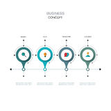 Vector infographics timeline design template with 3D paper label. Integrated circles background. Blank space for content, business, infographic, diagram Stock Photos