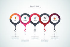 Vector infographics timeline design template. With 3D paper label, integrated circles background. Blank space for content, business, infographic, diagram Royalty Free Stock Images