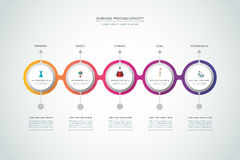 Vector infographics timeline design template. With 3D paper label, integrated circles background. Blank space for content, business, infographic, diagram Stock Photos