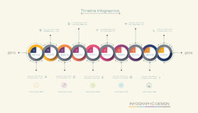 Vector infographics timeline design template. With 3D paper label, integrated circles background. Blank space for content, business, infographic, diagram Stock Images
