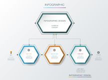 Vector infographics timeline design template. With label design and icons, 3 options or steps. Can be used for content, business, process infographics, diagram Stock Photography