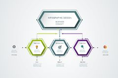 Vector infographics timeline design template. With label design and icons, 3 options or steps. Can be used for content, business, process infographics, diagram Royalty Free Stock Photo