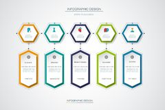 Vector infographics timeline design template. With label design and icons, 5 options or steps. Can be used for content, business, process infographics, diagram Stock Images