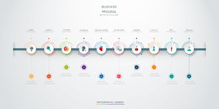 Vector infographics timeline design template with 10 option and integrated circles background. Blank space for content, business, infographic, diagram, digital stock illustration