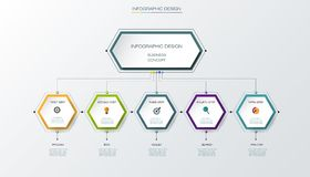 Vector infographics timeline design template. With label design and icons, 5 options or steps. Can be used for content, business, process infographics, diagram Stock Photography
