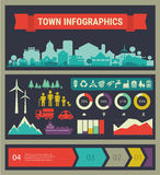 Vector infographics. Town and village Stock Photo