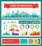Vector infographics. Town and village Royalty Free Stock Image