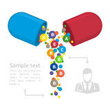 Vector infographics vitamins. Medical vitamins and minerals background. Capsule pharmaceutical from which poured vitamins. Vector template for infographics Royalty Free Stock Photos