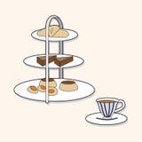 Vector inglés de los elementos del tema del té de tarde, EPS Fotos de archivo