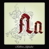 Vector iniciais do alfabeto inglês da fita e das plantas Fotografia de Stock Royalty Free