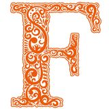 Vector initial letter in abstract floral ornament. Alphabet ornament. The letter F is orange color Stock Images