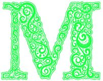 Vector initial letter in abstract floral ornament. Alphabet ornament. The letter M is green color Stock Photos