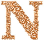 Vector initial letter in abstract floral ornament. Alphabet ornament. The letter N is brown color Royalty Free Stock Photo