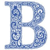 Vector initial letter in abstract floral ornament. Alphabet ornament. The letter B is blue color Stock Image
