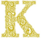Vector initial letter in abstract floral ornament. Alphabet ornament. The letter K is yellow color Royalty Free Stock Image