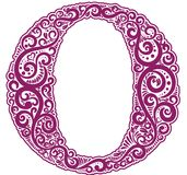 Vector initial letter in abstract floral ornament. Alphabet ornament. The letter O is violet color Stock Photography
