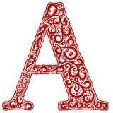 Vector initial letter in abstract floral ornament. Alphabet ornament. The letter A is red color Royalty Free Stock Image